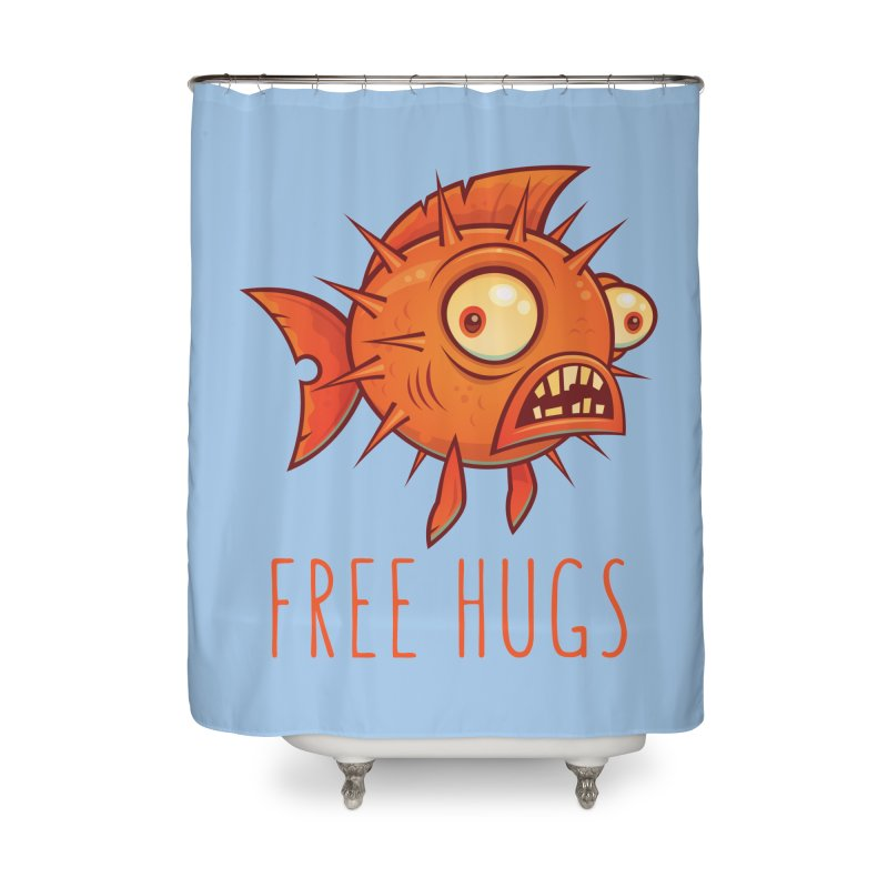 Free Hugs Cartoon Blowfish Home Shower Curtain by Fizzgig's Artist Shop