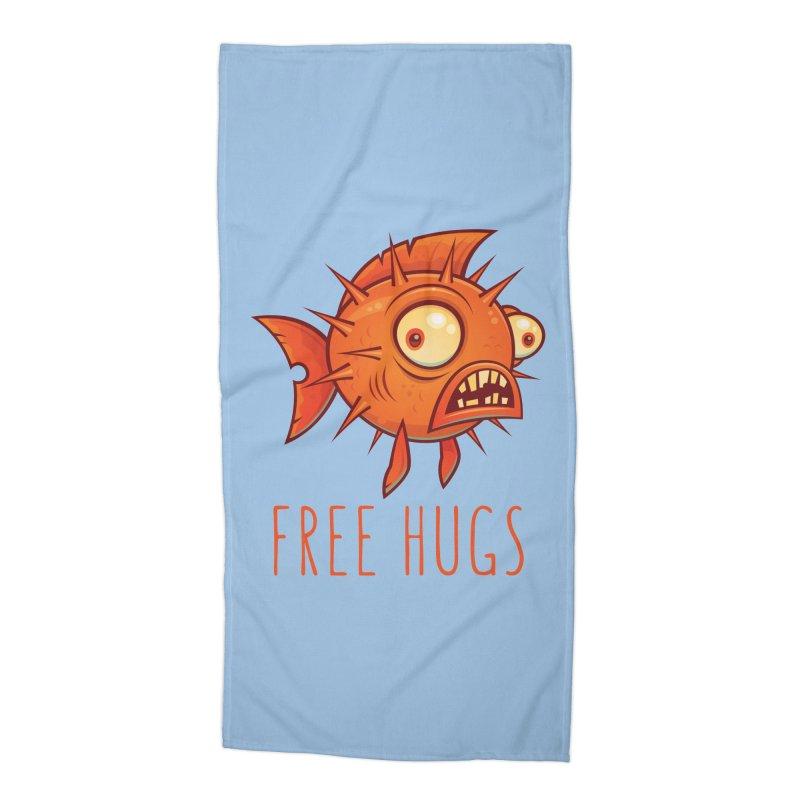 Free Hugs Cartoon Blowfish Accessories Beach Towel by Fizzgig's Artist Shop