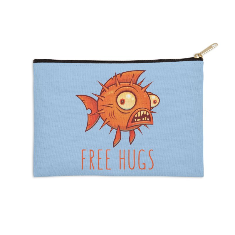Free Hugs Cartoon Blowfish Accessories Zip Pouch by Fizzgig's Artist Shop