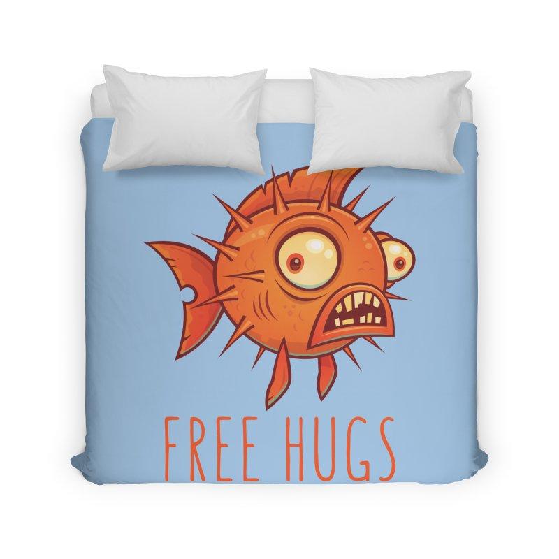 Free Hugs Cartoon Blowfish Home Duvet by Fizzgig's Artist Shop