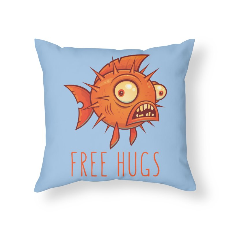 Free Hugs Cartoon Blowfish Home Throw Pillow by Fizzgig's Artist Shop