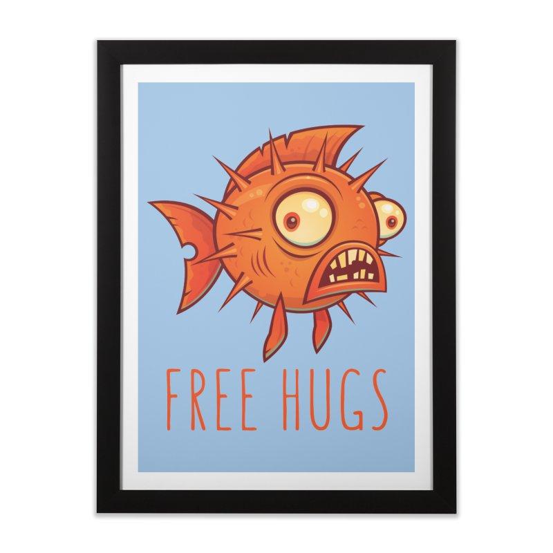 Free Hugs Cartoon Blowfish Home Framed Fine Art Print by Fizzgig's Artist Shop
