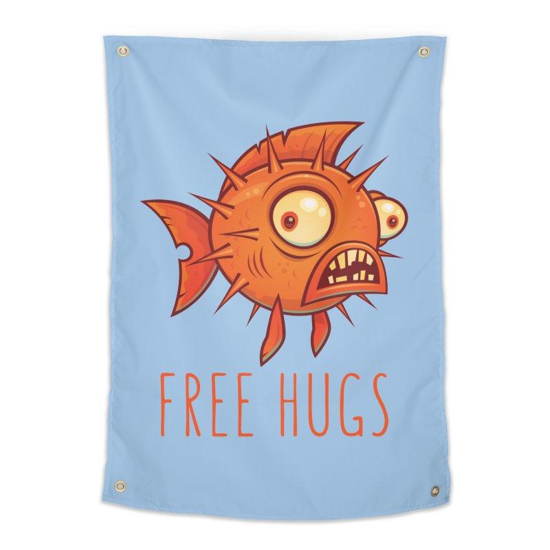 Free Hugs Cartoon Blowfish Home Tapestry by Fizzgig's Artist Shop