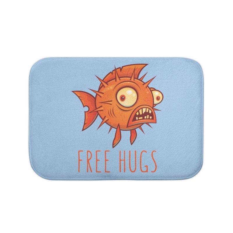 Free Hugs Cartoon Blowfish Home Bath Mat by Fizzgig's Artist Shop