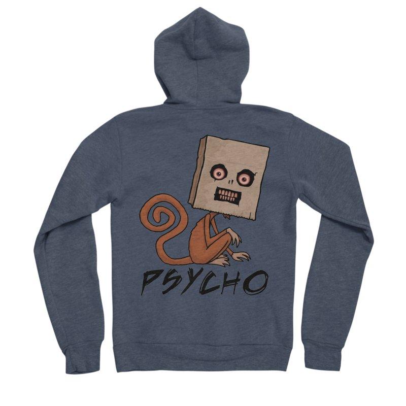 Psycho Sack Monkey with Text Men's Sponge Fleece Zip-Up Hoody by Fizzgig's Artist Shop
