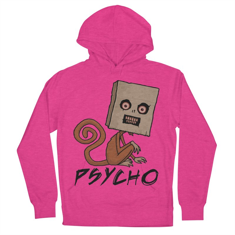 Psycho Sack Monkey with Text Men's French Terry Pullover Hoody by Fizzgig's Artist Shop