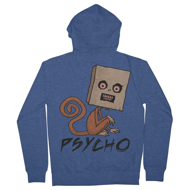 Psycho Sack Monkey with Text Men's French Terry Zip-Up Hoody by Fizzgig's Artist Shop
