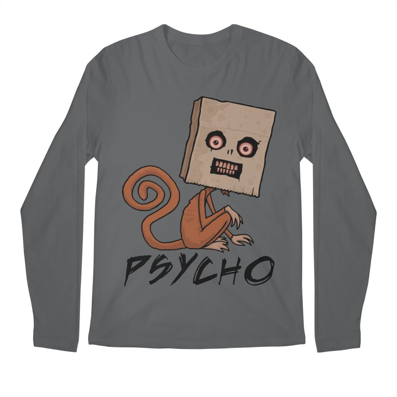 Psycho Sack Monkey with Text Men's Regular Longsleeve T-Shirt by Fizzgig's Artist Shop