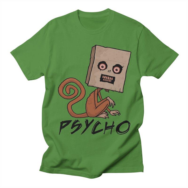 Psycho Sack Monkey with Text Men's Regular T-Shirt by Fizzgig's Artist Shop