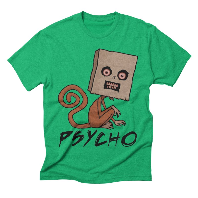 Psycho Sack Monkey with Text Men's Triblend T-Shirt by Fizzgig's Artist Shop