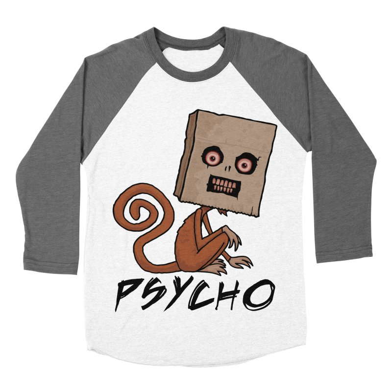 Psycho Sack Monkey with Text Men's Baseball Triblend Longsleeve T-Shirt by Fizzgig's Artist Shop