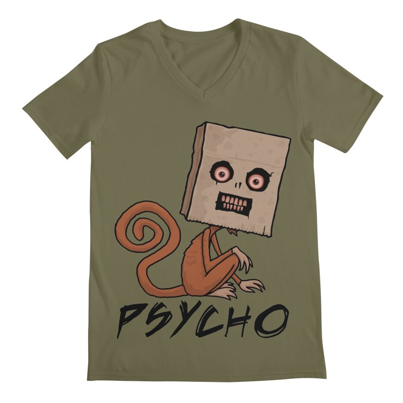 Psycho Sack Monkey with Text Men's Regular V-Neck by Fizzgig's Artist Shop