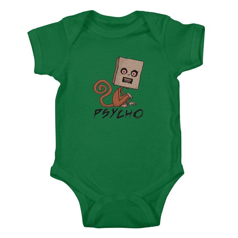 Psycho Sack Monkey with Text Kids Baby Bodysuit by Fizzgig's Artist Shop