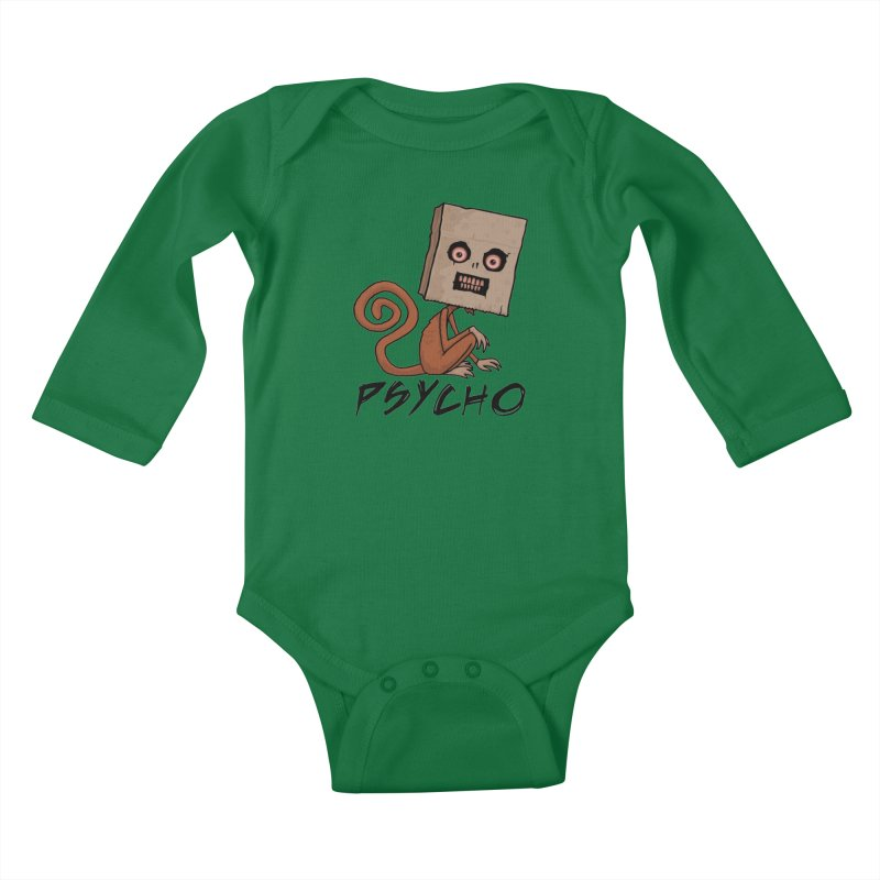 Psycho Sack Monkey with Text Kids Baby Longsleeve Bodysuit by Fizzgig's Artist Shop