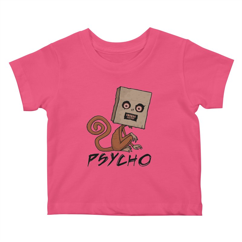 Psycho Sack Monkey with Text Kids Baby T-Shirt by Fizzgig's Artist Shop