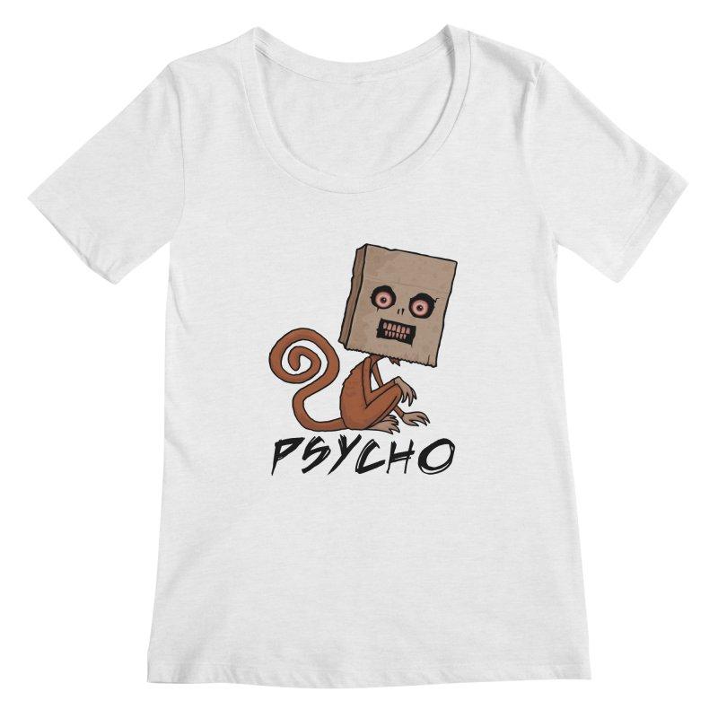 Psycho Sack Monkey with Text Women's Regular Scoop Neck by Fizzgig's Artist Shop