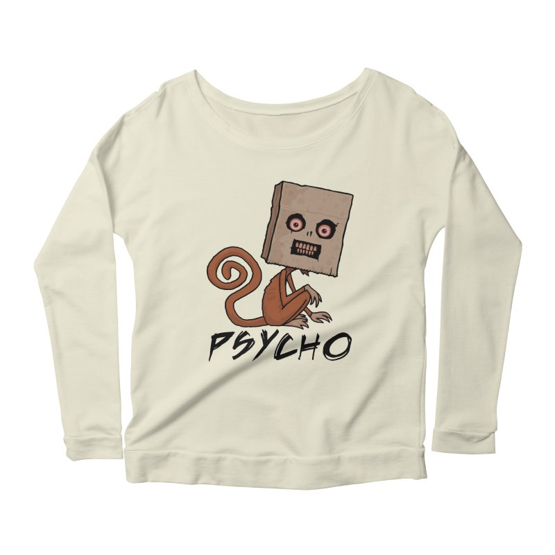 Psycho Sack Monkey with Text Women's Scoop Neck Longsleeve T-Shirt by Fizzgig's Artist Shop