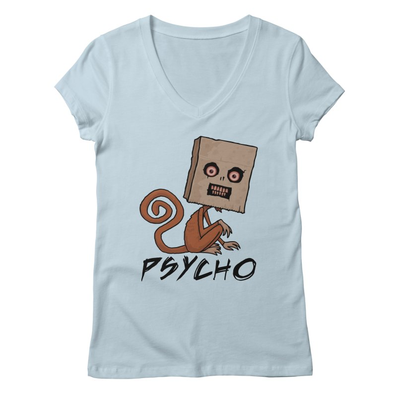 Psycho Sack Monkey with Text Women's Regular V-Neck by Fizzgig's Artist Shop