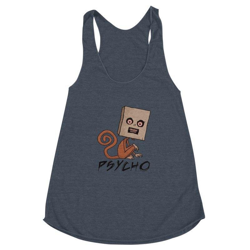 Psycho Sack Monkey with Text Women's Racerback Triblend Tank by Fizzgig's Artist Shop