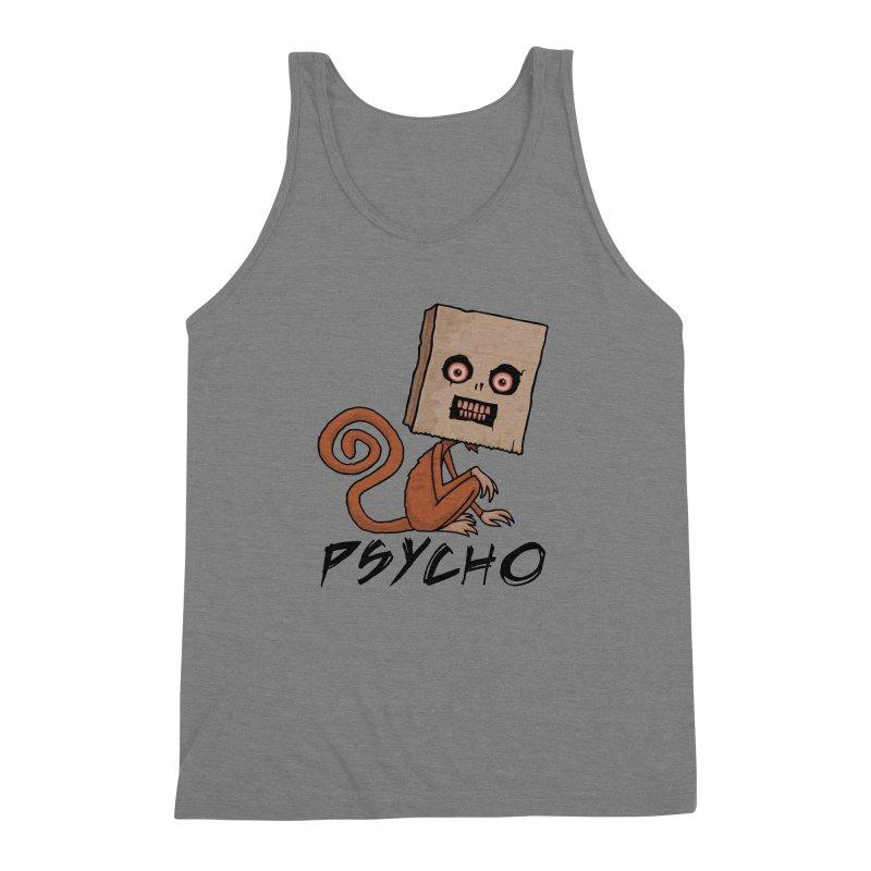 Psycho Sack Monkey with Text Men's Triblend Tank by Fizzgig's Artist Shop