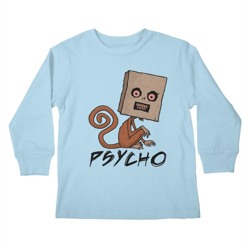 Psycho Sack Monkey with Text Kids Longsleeve T-Shirt by Fizzgig's Artist Shop