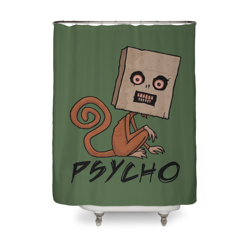Psycho Sack Monkey with Text Home Shower Curtain by Fizzgig's Artist Shop