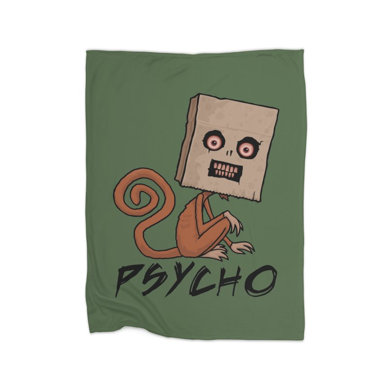 Psycho Sack Monkey with Text Home Blanket by Fizzgig's Artist Shop