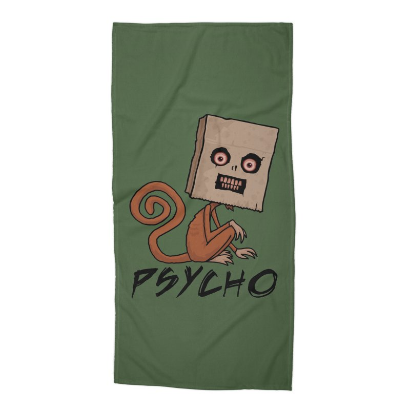 Psycho Sack Monkey with Text Accessories Beach Towel by Fizzgig's Artist Shop