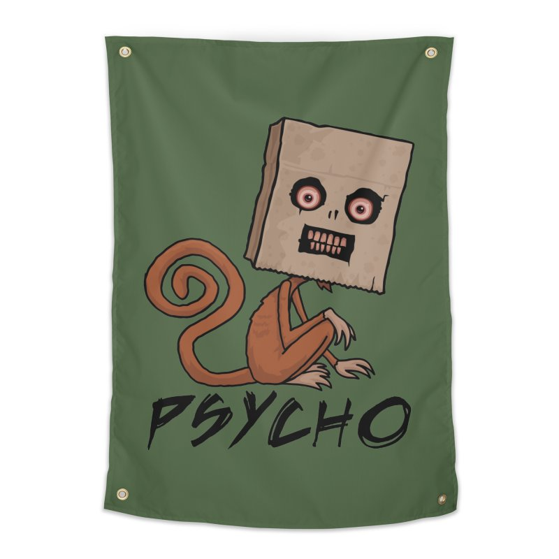 Psycho Sack Monkey with Text Home Tapestry by Fizzgig's Artist Shop