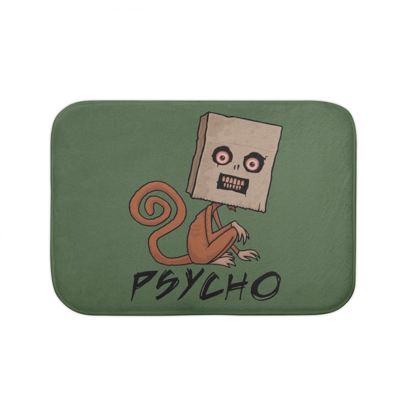 Psycho Sack Monkey with Text Home Bath Mat by Fizzgig's Artist Shop