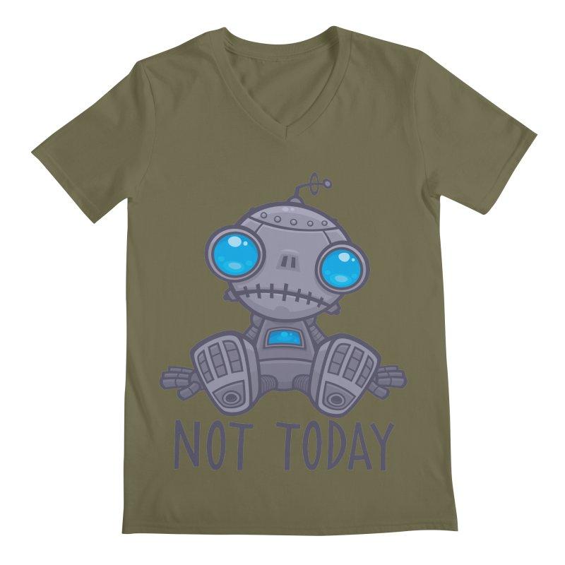 Not Today Sad Robot Men's Regular V-Neck by Fizzgig's Artist Shop