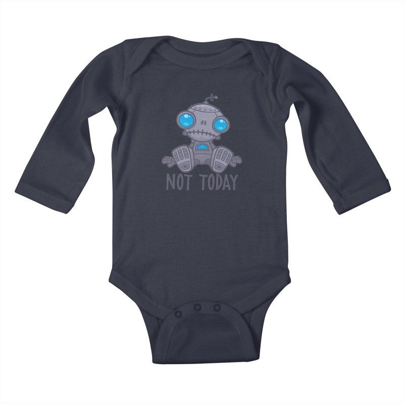 Not Today Sad Robot Kids Baby Longsleeve Bodysuit by Fizzgig's Artist Shop