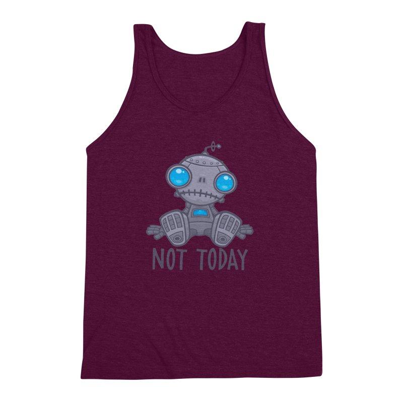 Not Today Sad Robot Men's Triblend Tank by Fizzgig's Artist Shop