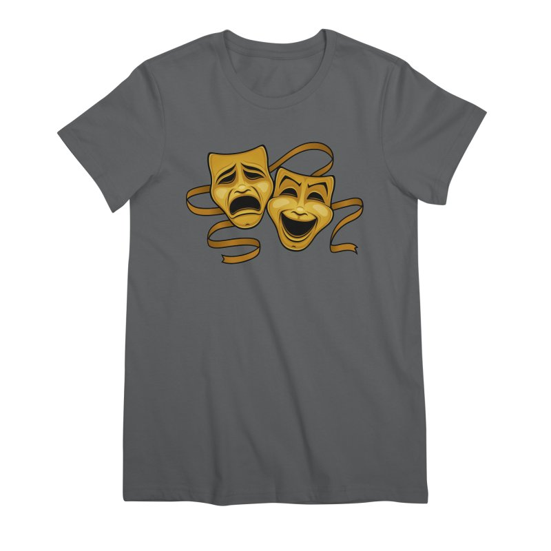 Gold Comedy And Tragedy Theater Masks Women's Premium T-Shirt by Fizzgig's Artist Shop