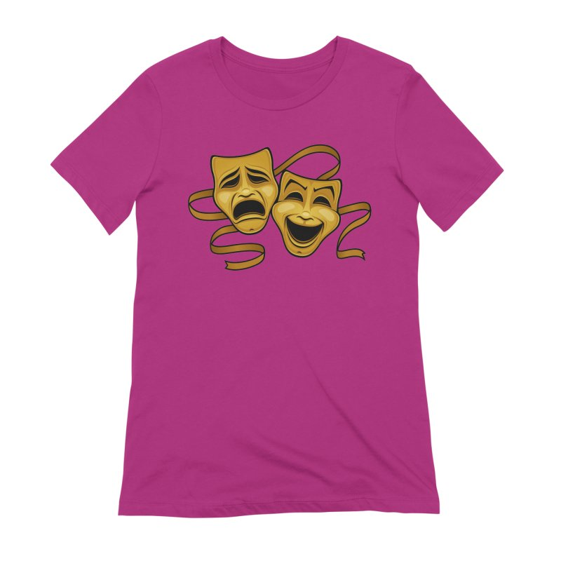 Gold Comedy And Tragedy Theater Masks Women's Extra Soft T-Shirt by Fizzgig's Artist Shop