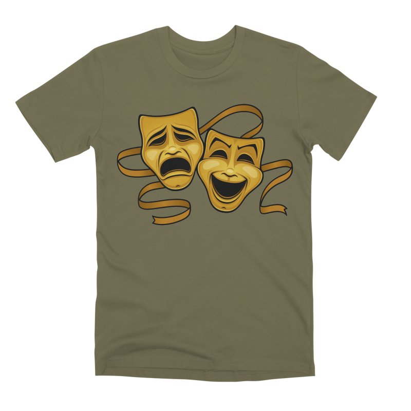 Gold Comedy And Tragedy Theater Masks Men's Premium T-Shirt by Fizzgig's Artist Shop