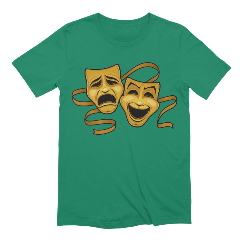 Gold Comedy And Tragedy Theater Masks Men's Extra Soft T-Shirt by Fizzgig's Artist Shop