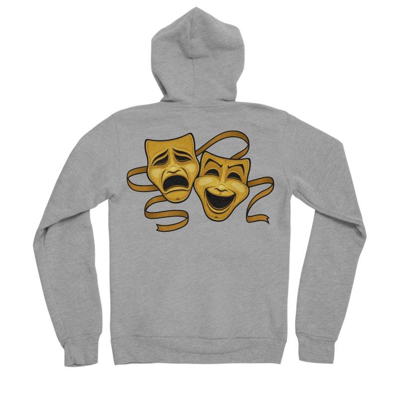 Gold Comedy And Tragedy Theater Masks Men's Sponge Fleece Zip-Up Hoody by Fizzgig's Artist Shop