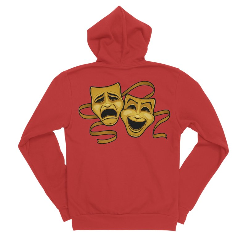 Gold Comedy And Tragedy Theater Masks Women's Sponge Fleece Zip-Up Hoody by Fizzgig's Artist Shop