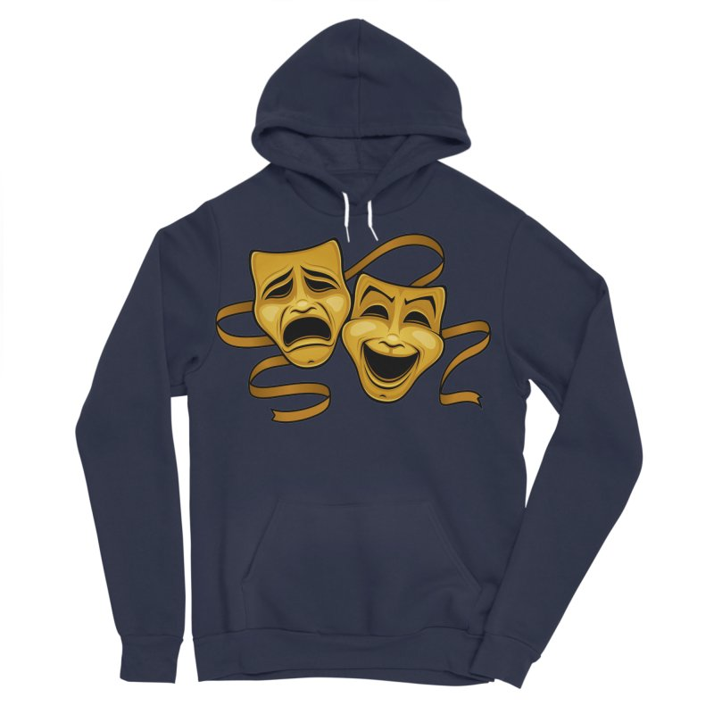 Gold Comedy And Tragedy Theater Masks Men's Sponge Fleece Pullover Hoody by Fizzgig's Artist Shop