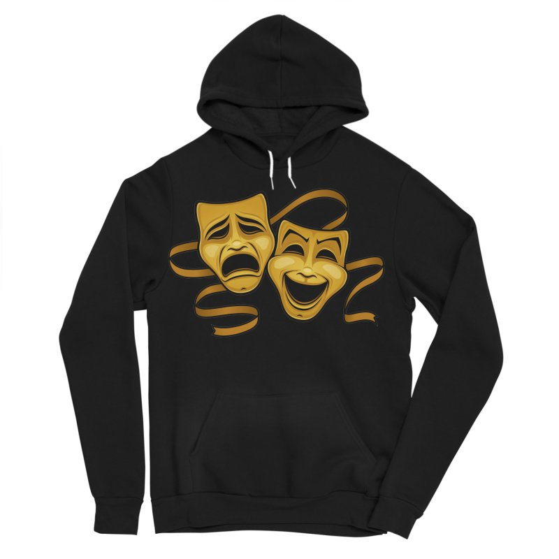 Gold Comedy And Tragedy Theater Masks Women's Sponge Fleece Pullover Hoody by Fizzgig's Artist Shop