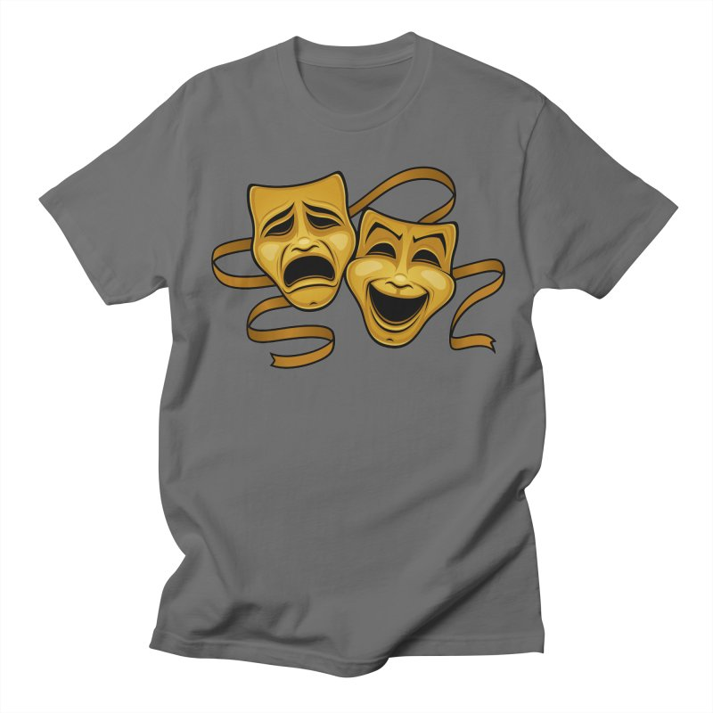 Gold Comedy And Tragedy Theater Masks Men's T-Shirt by Fizzgig's Artist Shop