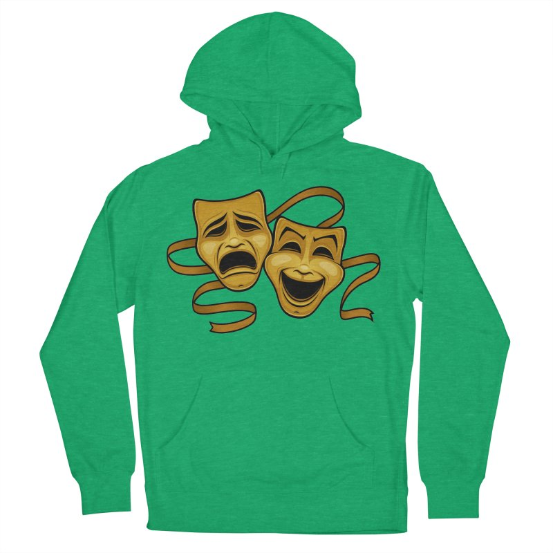Gold Comedy And Tragedy Theater Masks Women's French Terry Pullover Hoody by Fizzgig's Artist Shop