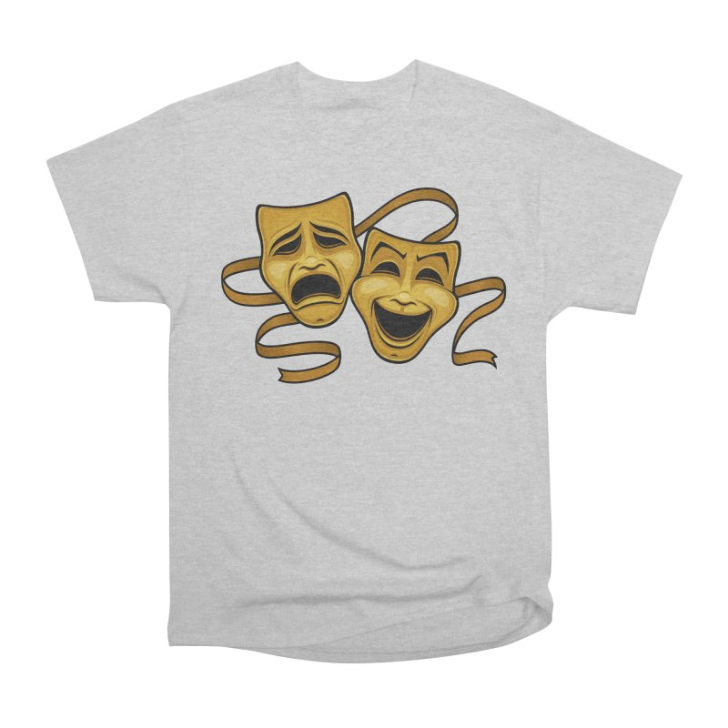 Gold Comedy And Tragedy Theater Masks Women's Heavyweight Unisex T-Shirt by Fizzgig's Artist Shop