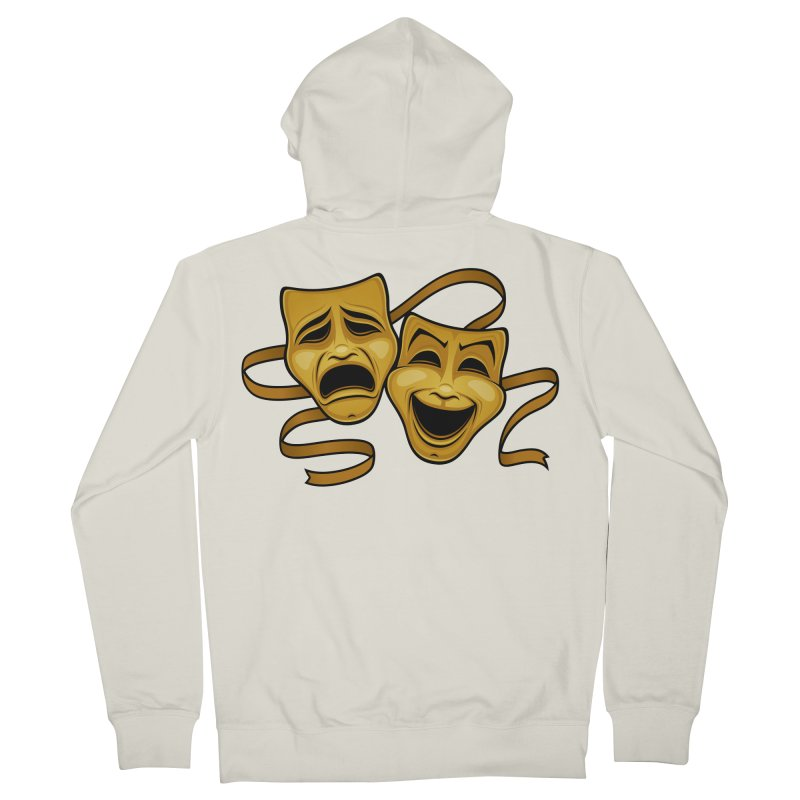 Gold Comedy And Tragedy Theater Masks Women's French Terry Zip-Up Hoody by Fizzgig's Artist Shop