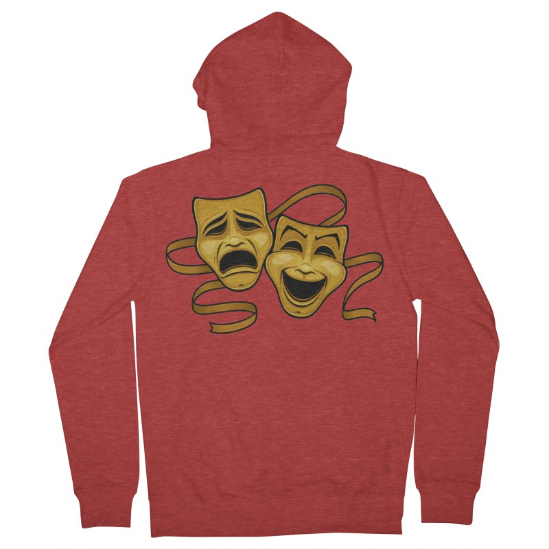Gold Comedy And Tragedy Theater Masks Men's French Terry Zip-Up Hoody by Fizzgig's Artist Shop