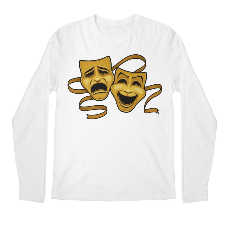 Gold Comedy And Tragedy Theater Masks Men's Regular Longsleeve T-Shirt by Fizzgig's Artist Shop