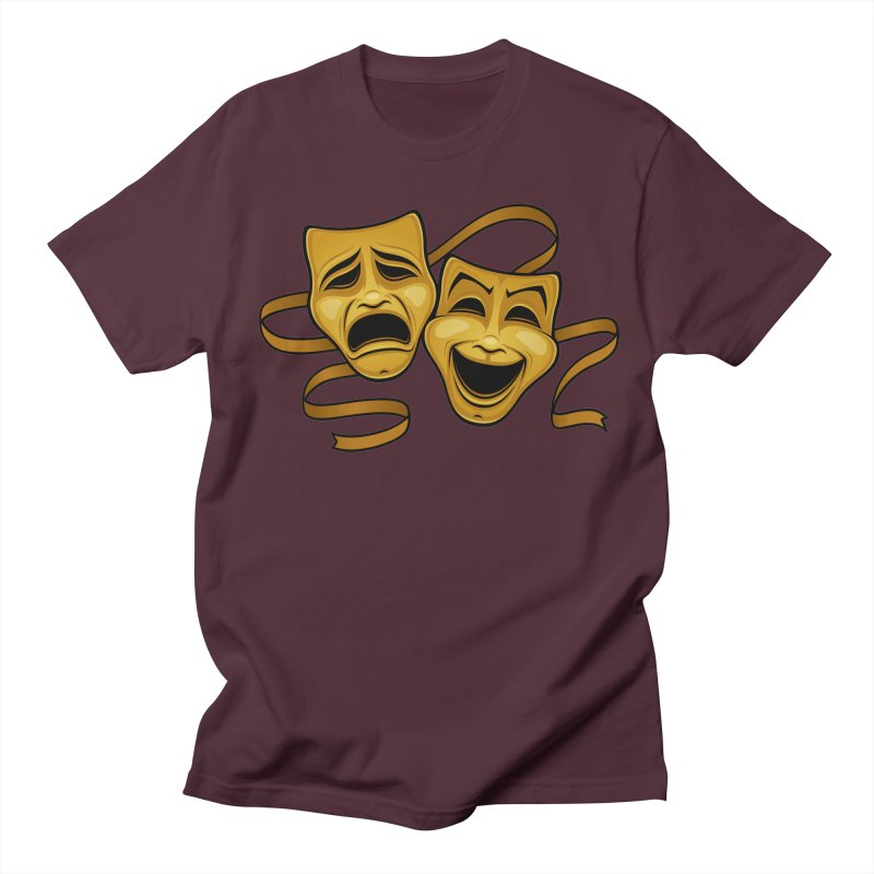Gold Comedy And Tragedy Theater Masks Men's Regular T-Shirt by Fizzgig's Artist Shop