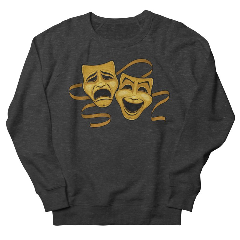 Gold Comedy And Tragedy Theater Masks Women's French Terry Sweatshirt by Fizzgig's Artist Shop