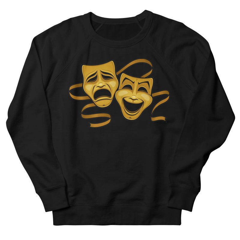 Gold Comedy And Tragedy Theater Masks Men's French Terry Sweatshirt by Fizzgig's Artist Shop